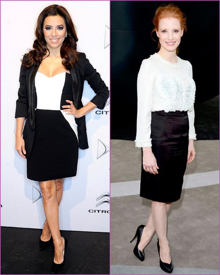 Black skirt and white blouse