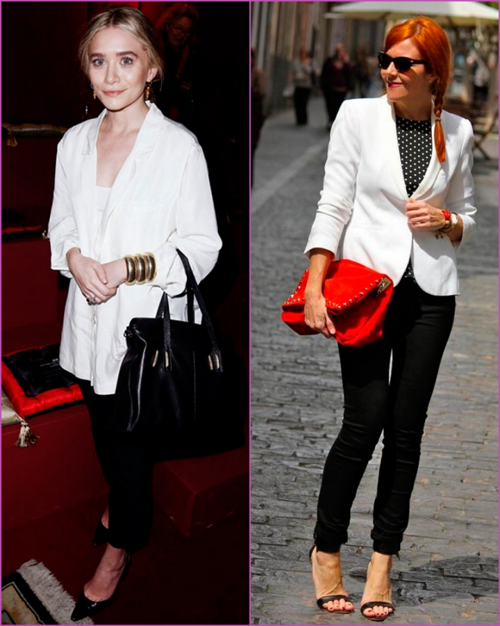 White blazer and black pantss