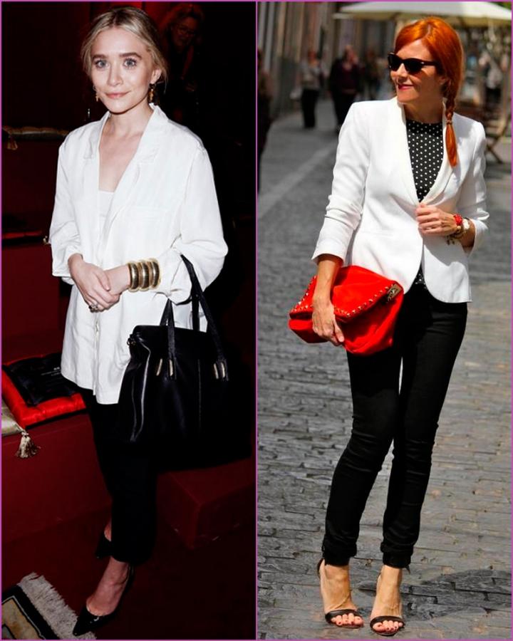 White blazer and black pantss