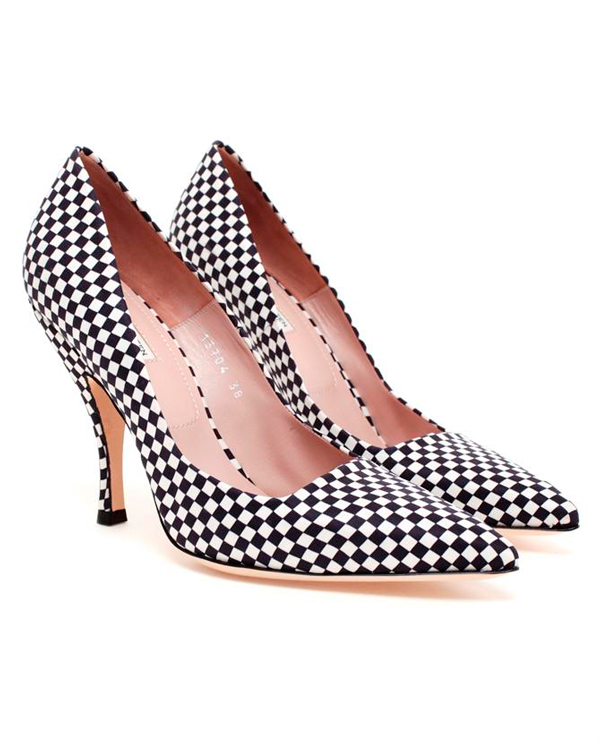 Checkerboard Printed Satin Pumps