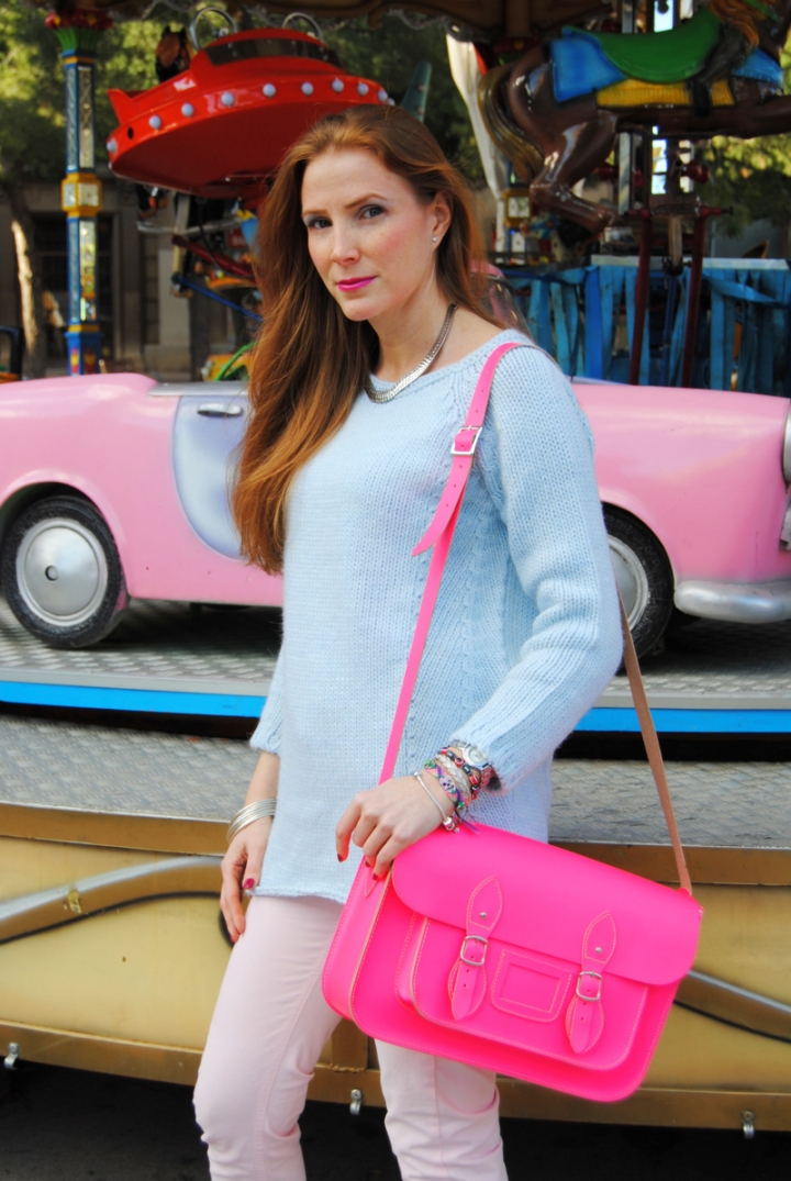 Pink Neon Satchel Bag