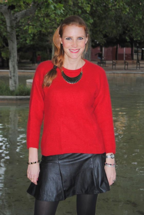 Red Sweater and leather skirt