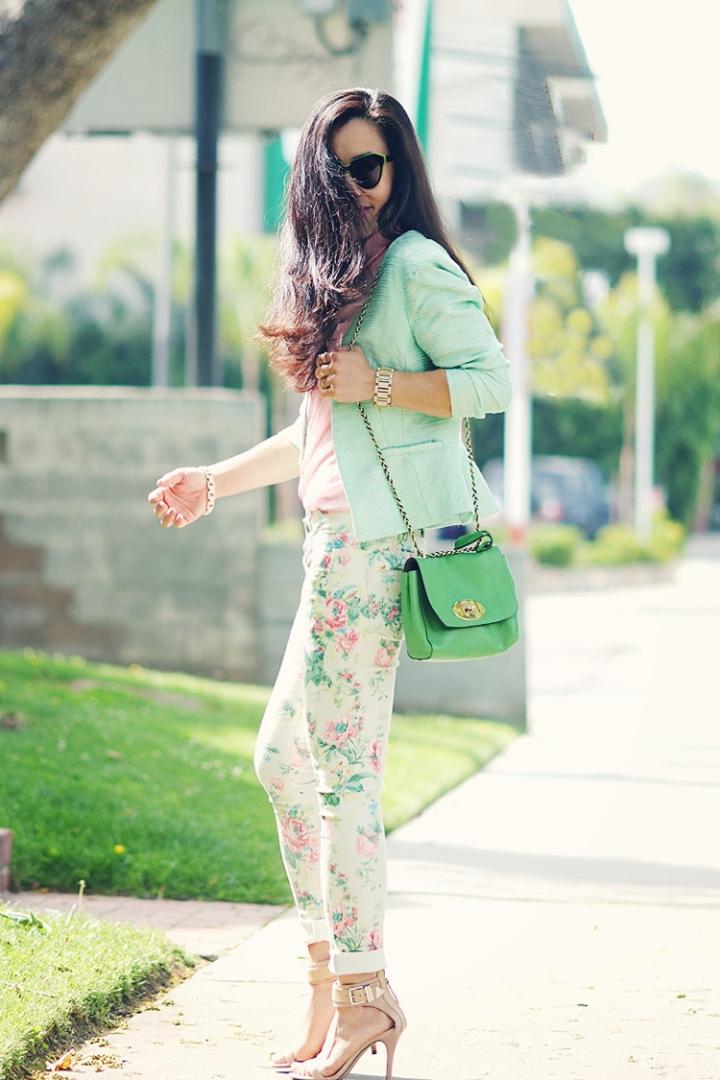 Pastel floral pants