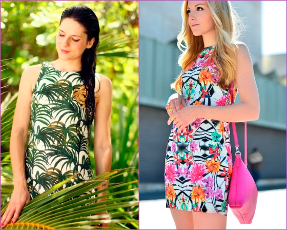 Vestido de estampado tropicla