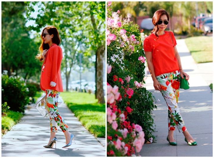 Tropical printed pants