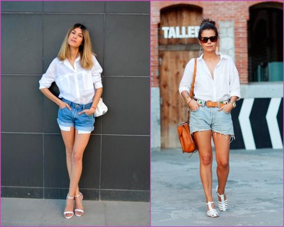 White shirt-jean short