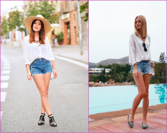 Short denim y camisa blanca