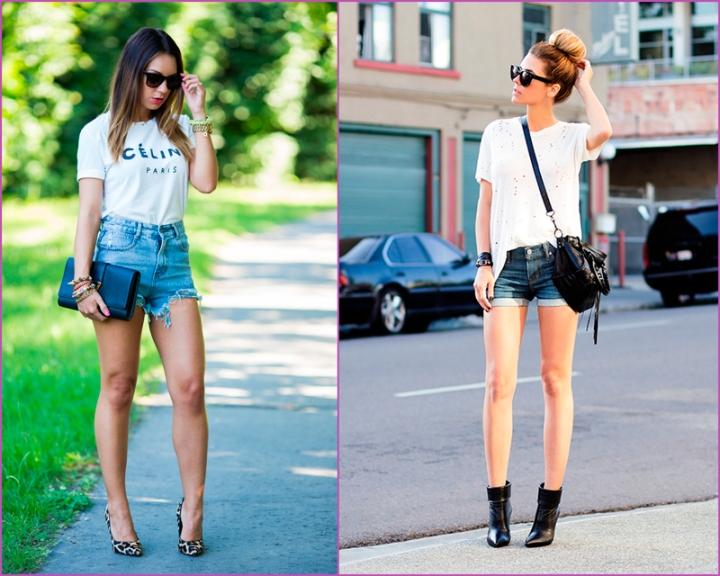 White shirt - jean short