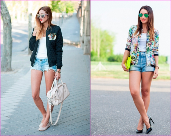 Bomber and jean short