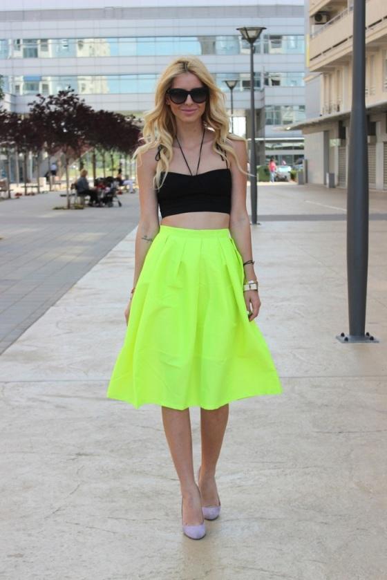 Neon yellow skirt