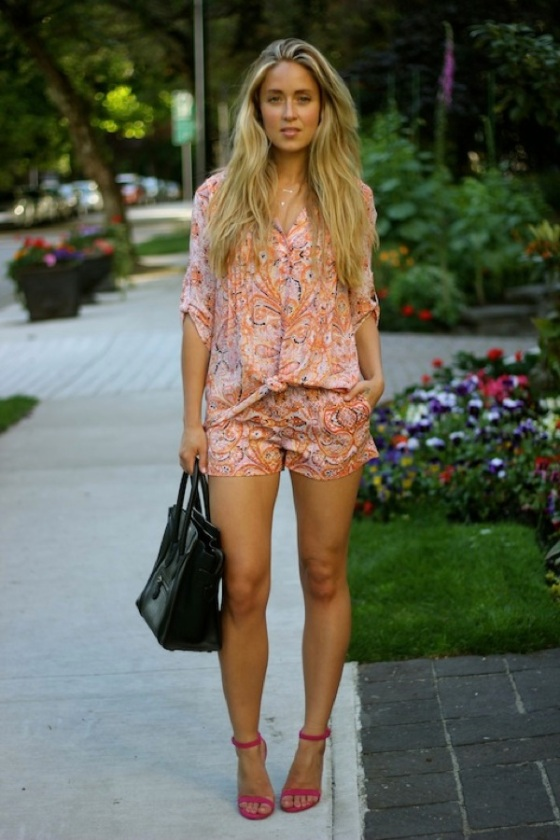 floral shorts and blouse