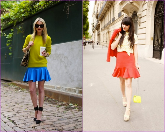 Blue - red frill skirts