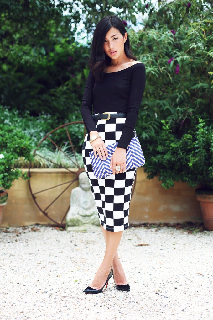 Checker midi skirt