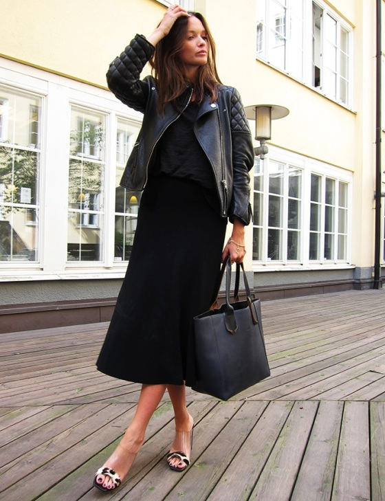 black midi skirt look