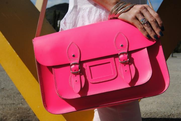 Pink neon satchel bag