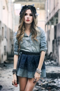 Jean skirt and blouse