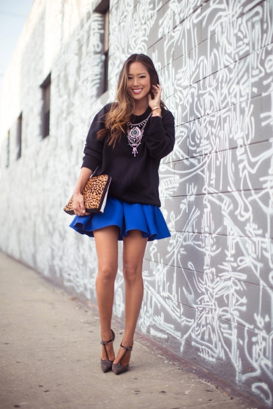 Song of Style pleated blue skirt