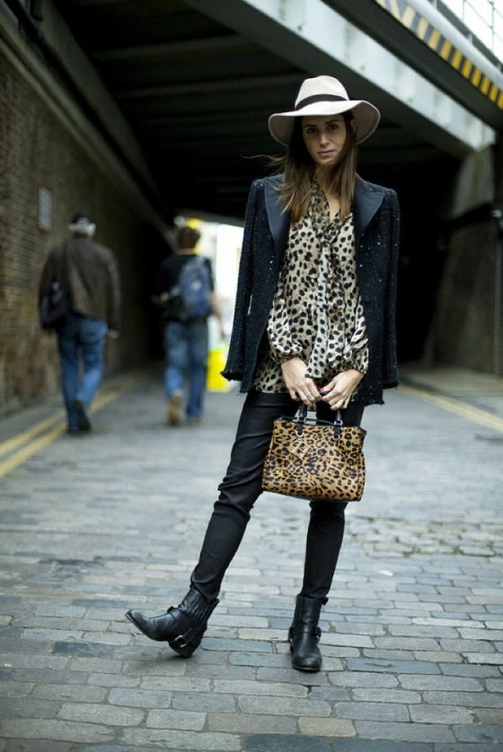 leopard blouse and bag