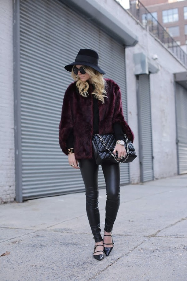 Faux fur and leather leggings