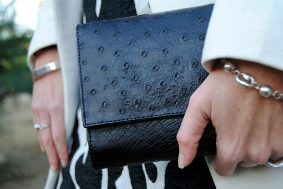 Black ostrich bag