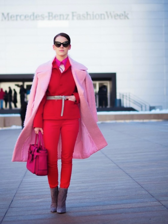 pink coat and red
