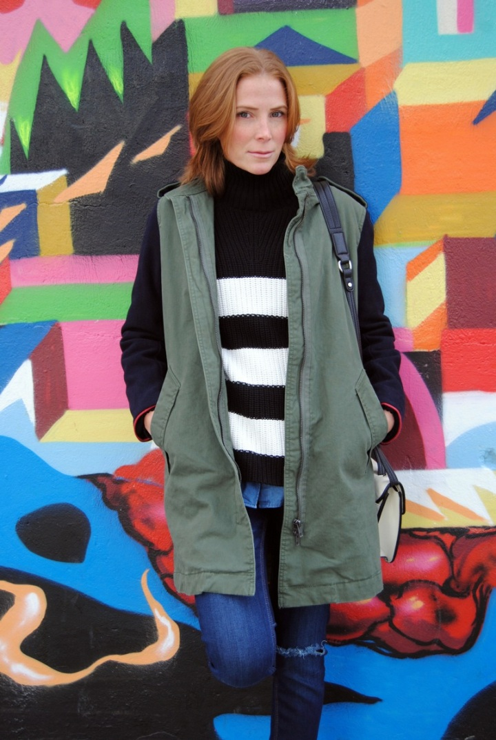 Green parka coat look