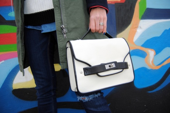 Mango black and white bag