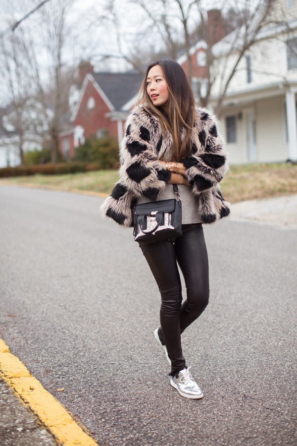 faux fur leather pants