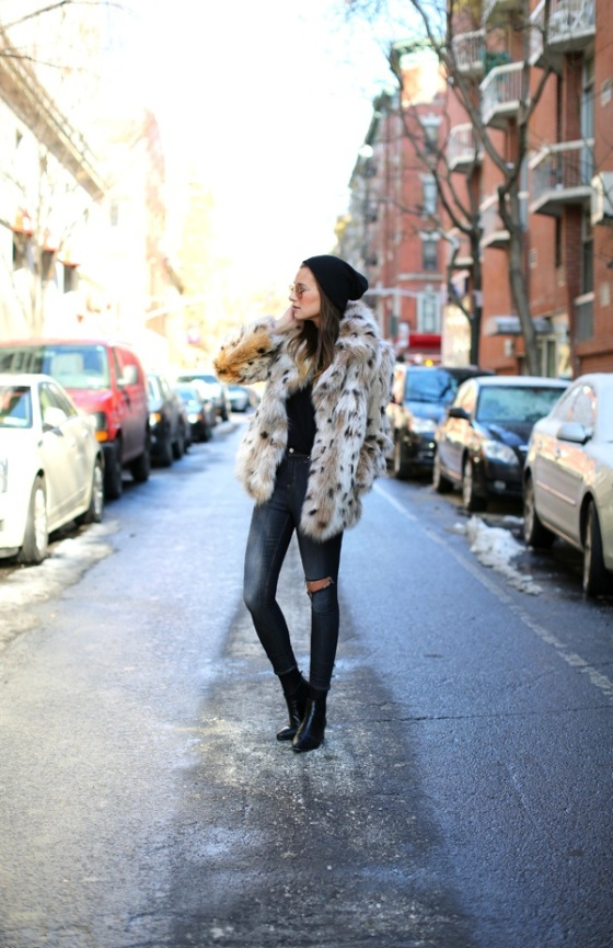 leopard print hairy coat