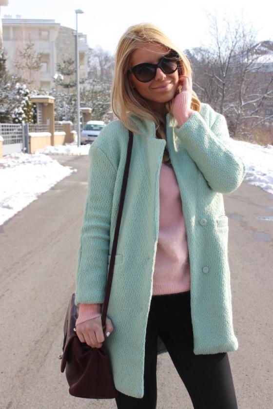 abrigo verde menta