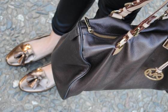 Michael Kors bag and Mango loafers