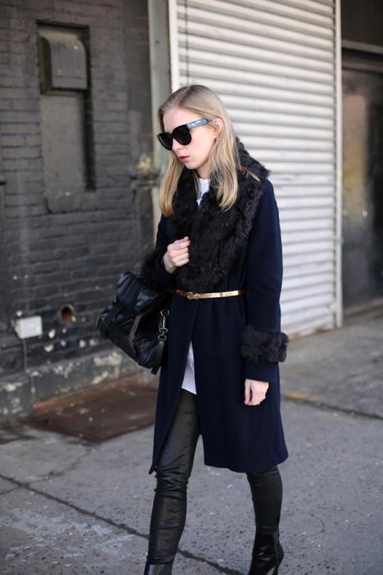 Black coat and gold belt