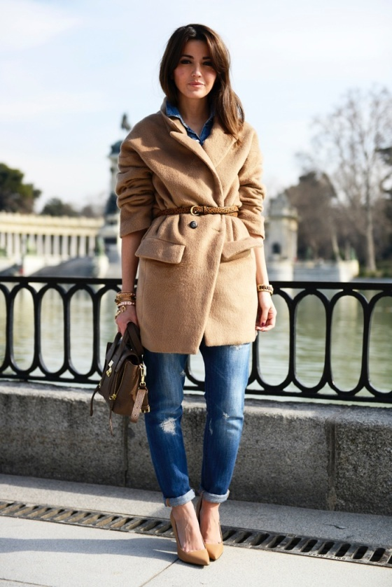 Camel coat and leopard belt