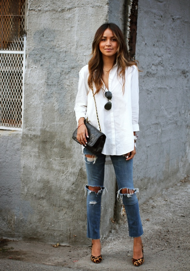 ripped jeans and white shirt look