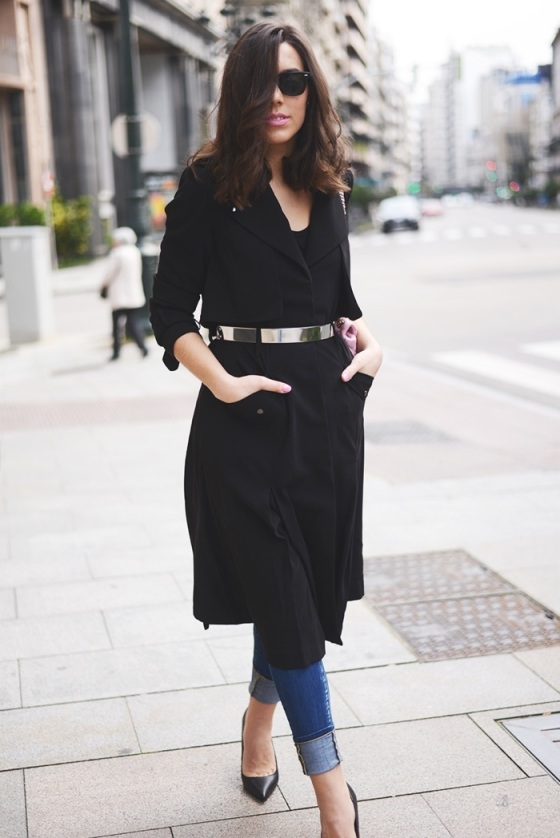 Black coat and gold belt