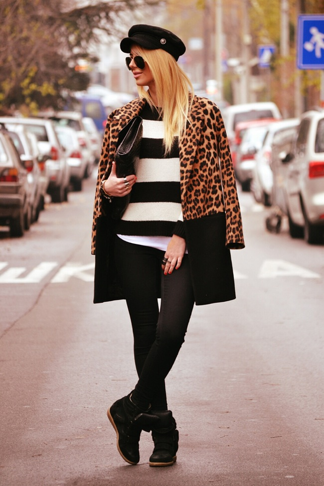 Stripes and leopard coat look