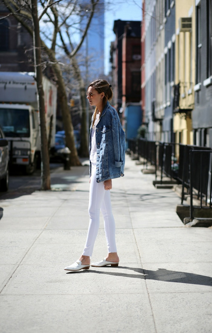 white and denim jacket look
