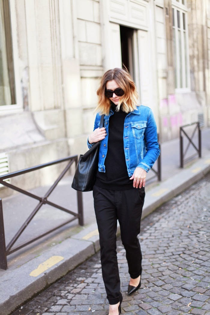 Total black look_jean jacket look