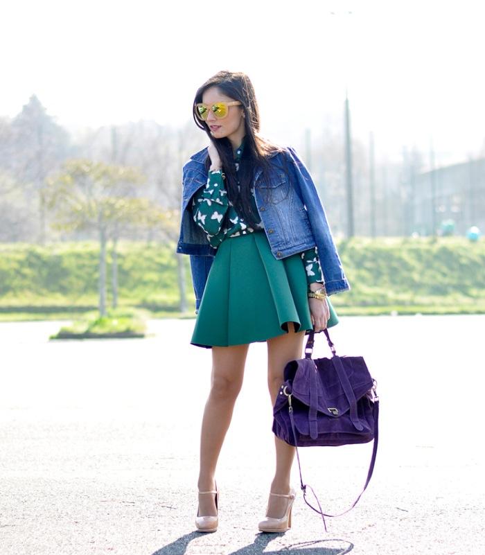 denim jacket and skirt look