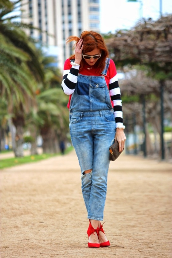 denim overall look