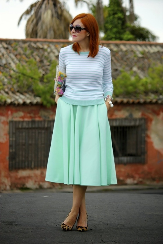 green mint midi skirt look