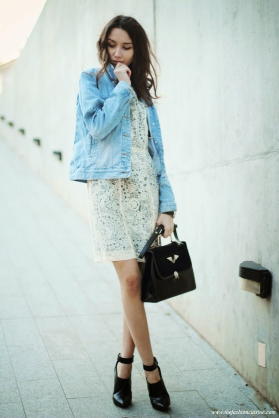 denim jacket and dress look