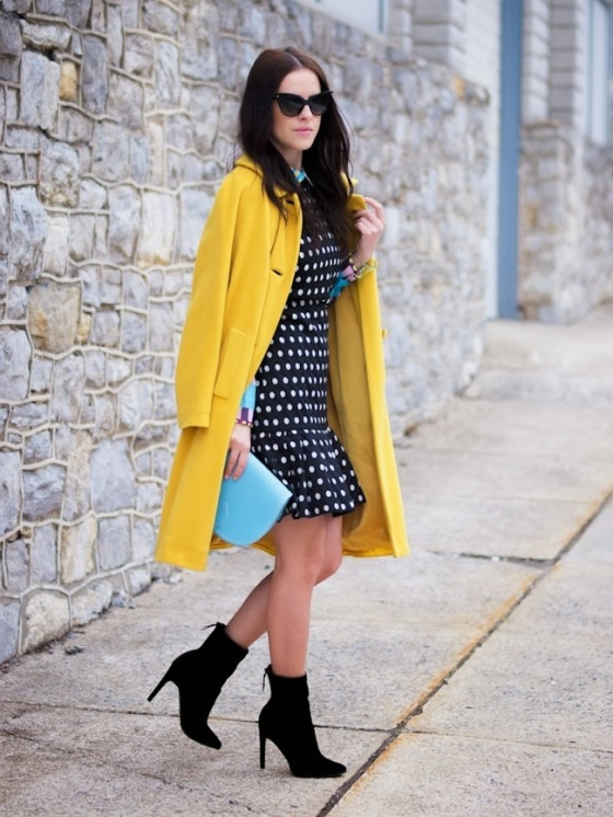 polka dots dress and yellow