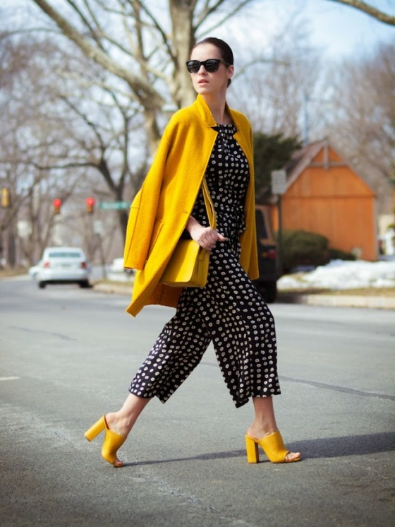black and white look with yellow