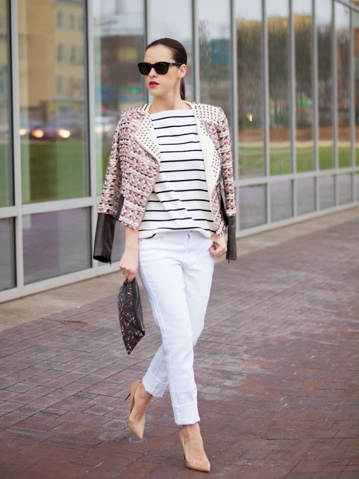 stripes and white pants look