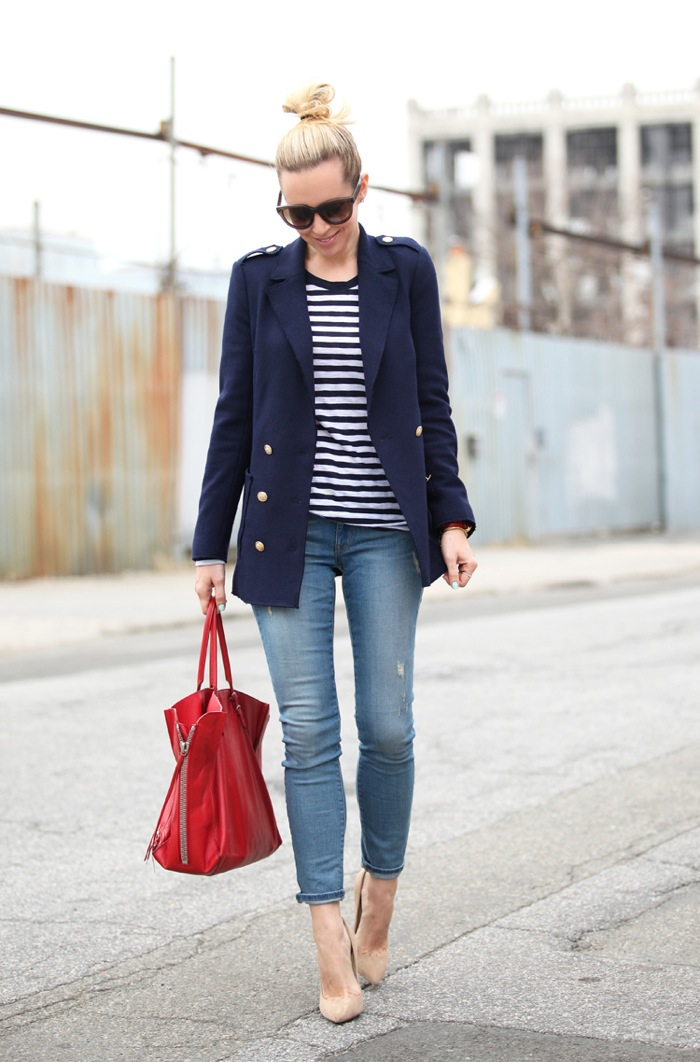 navy stripes shirt