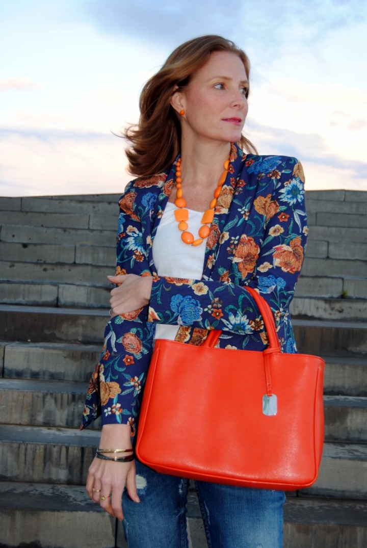Orange bag look