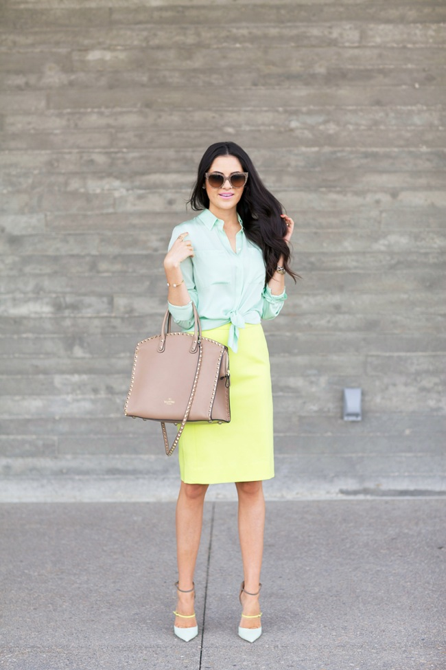 pencil yellow skirt