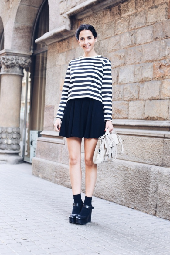 navy shirt and skirt look
