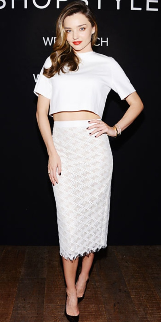 white top and white midi skirt look